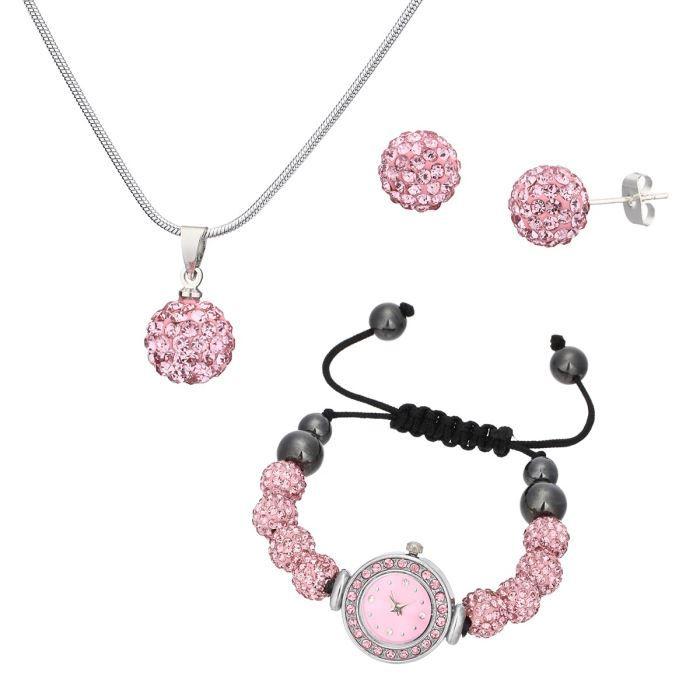 ma 39 dor coffret montre et bijoux femme rose et noir chic tendance achat vente pack montre. Black Bedroom Furniture Sets. Home Design Ideas