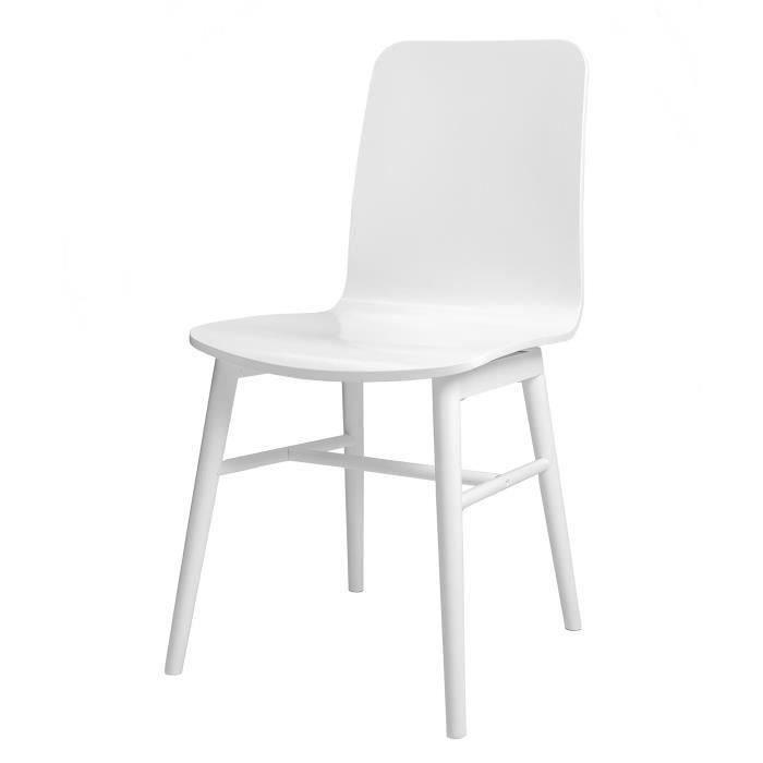 Lot de 4 chaises de salle manger en bois massif laqu blanc achat vente chaise pi tement - Chaises salle a manger bois ...
