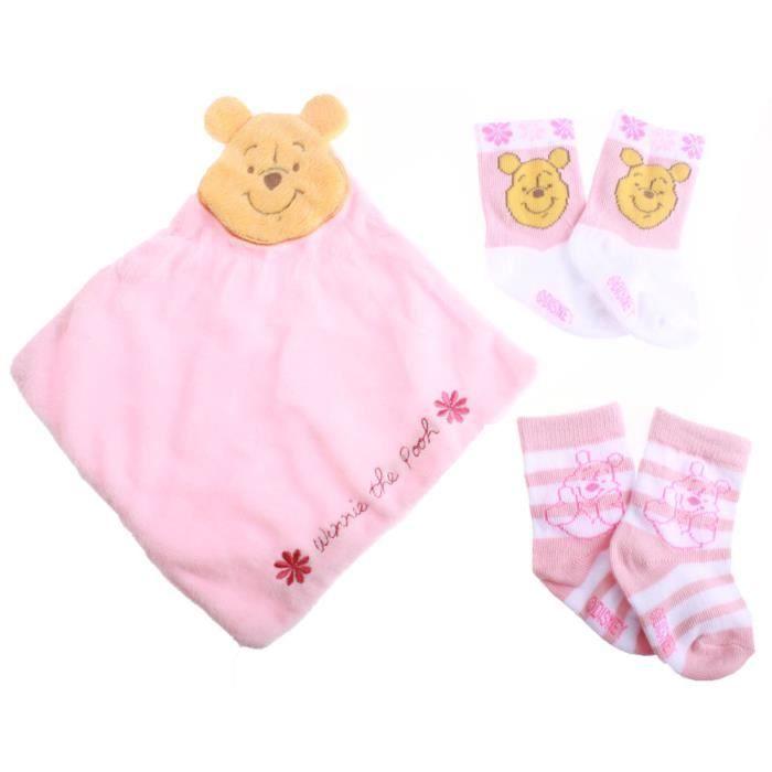 Set doudou et chaussettes bébé fille Winnie lourson rose ...