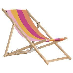 Transat en toile et bois achat vente chaise longue for Chaise longue en toile