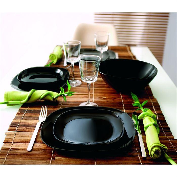 Luminarc sweet line noir service 18 pi ces achat for Service de table carre