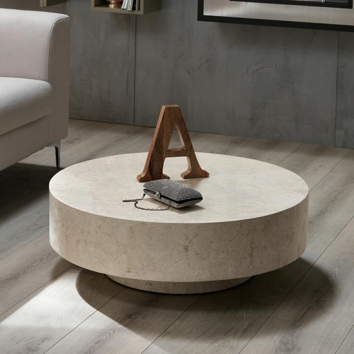 table de chevet ronde en pierre fossile round 1 par stones. Black Bedroom Furniture Sets. Home Design Ideas