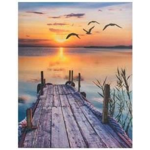 cadre toile coucher de soleil sur mer 50 x 40 cm achat vente tableau toile soldes. Black Bedroom Furniture Sets. Home Design Ideas