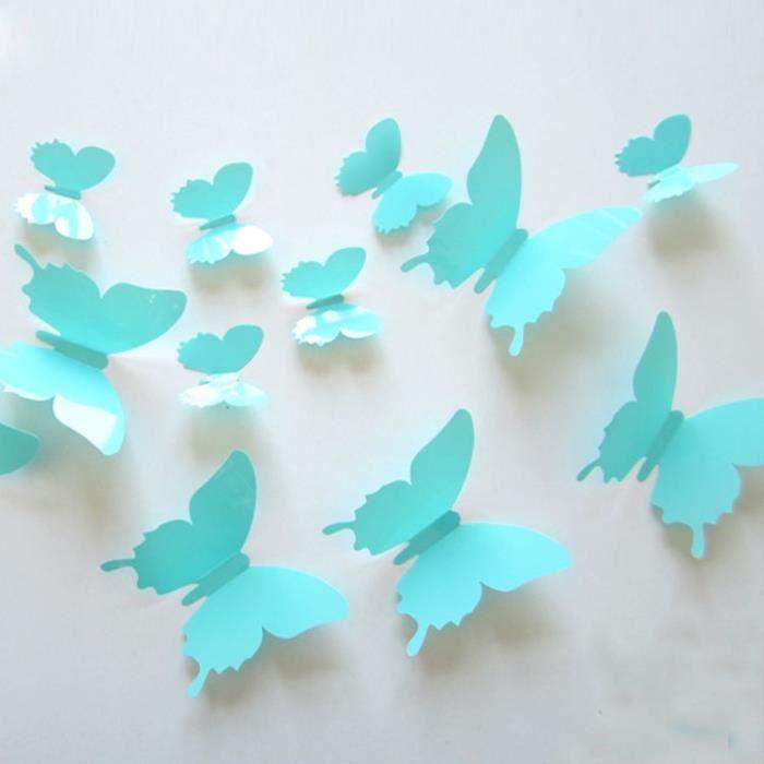 12 pi ces 3d stickers papillon bleu ciel d coration maison butterfly 3d achat vente objet. Black Bedroom Furniture Sets. Home Design Ideas