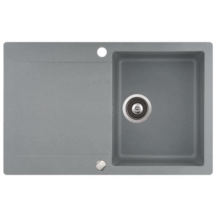 evier granit gris 1bac 1 gouttoir achat vente evier de cuisine evier granit gris 1bac 1. Black Bedroom Furniture Sets. Home Design Ideas