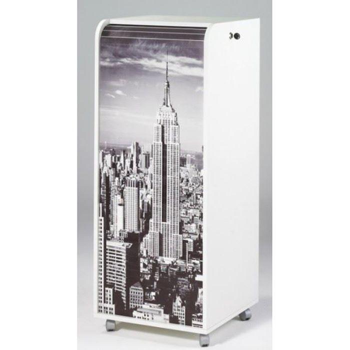 caisson de bureau roulettes 47 2 cm blanc new york achat vente caisson de bureau caisson. Black Bedroom Furniture Sets. Home Design Ideas