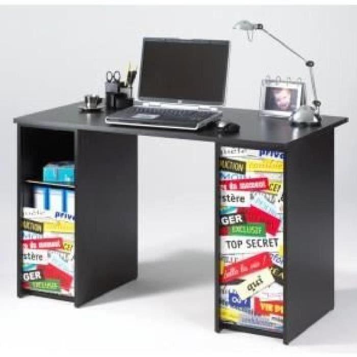 Bureau 2 caissons 120 cm noir top secret achat vente for Meuble bureau 120 cm