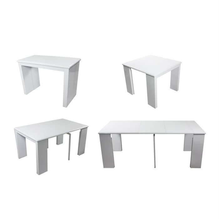 Table console extensible laquee blanche achat vente for Table a manger blanche