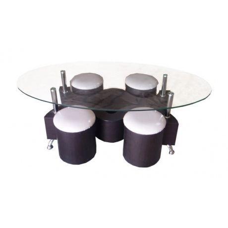 Table Basse Pouf : ... Pouf-TABLE BASSE + 4 POUFS WENGUé - Achat / Vente table basse TABLE