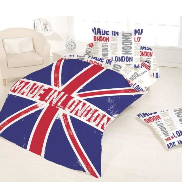 Housse de couette 140x200 made in london 1 taie achat - Housse de couette london 1 personne ...
