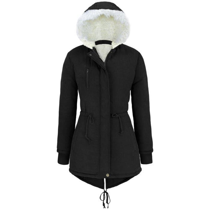 femme manteaux fourrure chaude parka a capuche noir. Black Bedroom Furniture Sets. Home Design Ideas