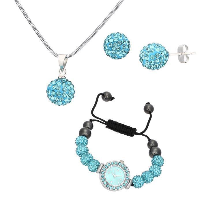 ma 39 dor coffret montre et bijoux femme turquoise et noir tendance chic achat vente pack montre. Black Bedroom Furniture Sets. Home Design Ideas