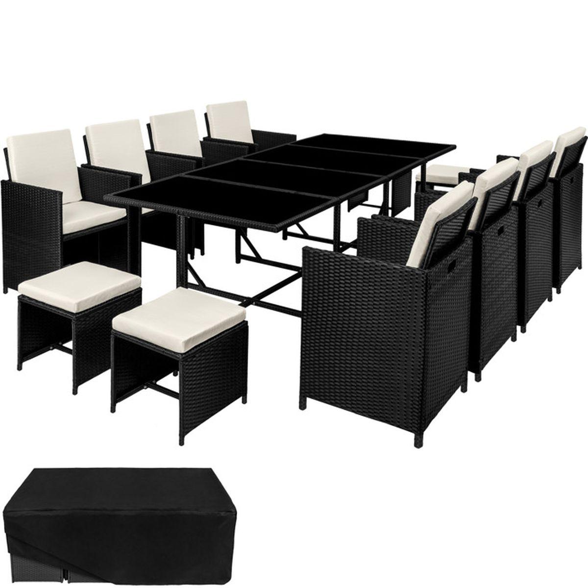 Salon de jardin palma ensemble avec 8 chaises 4 tabourets et 1 table en r sine tress e et acier for Housse de table de jardin en resine