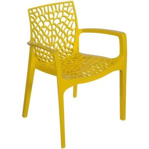 CHAISE Chaise Design Jaune Avec Accoudoirs GRUYER OPAQUE