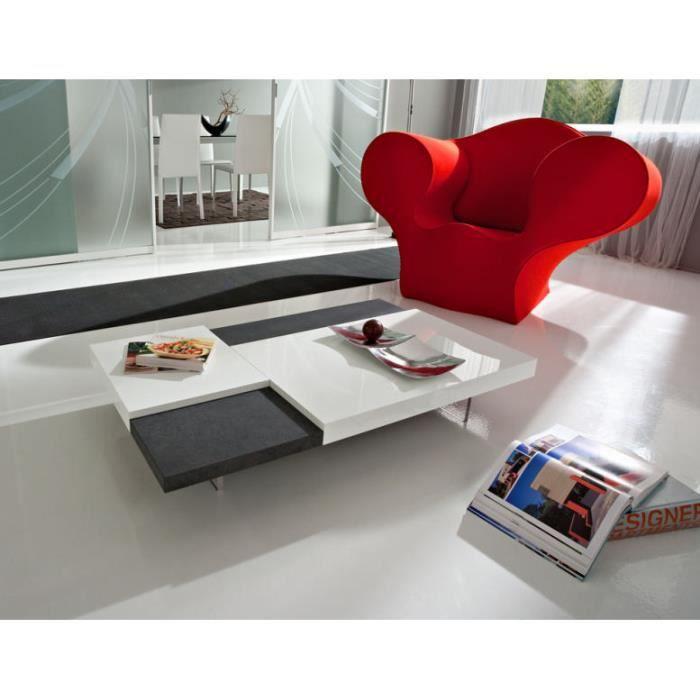 Table basse moderne blanche noire bicolor meuble house achat vente table basse table basse - Table basse moderne blanche ...