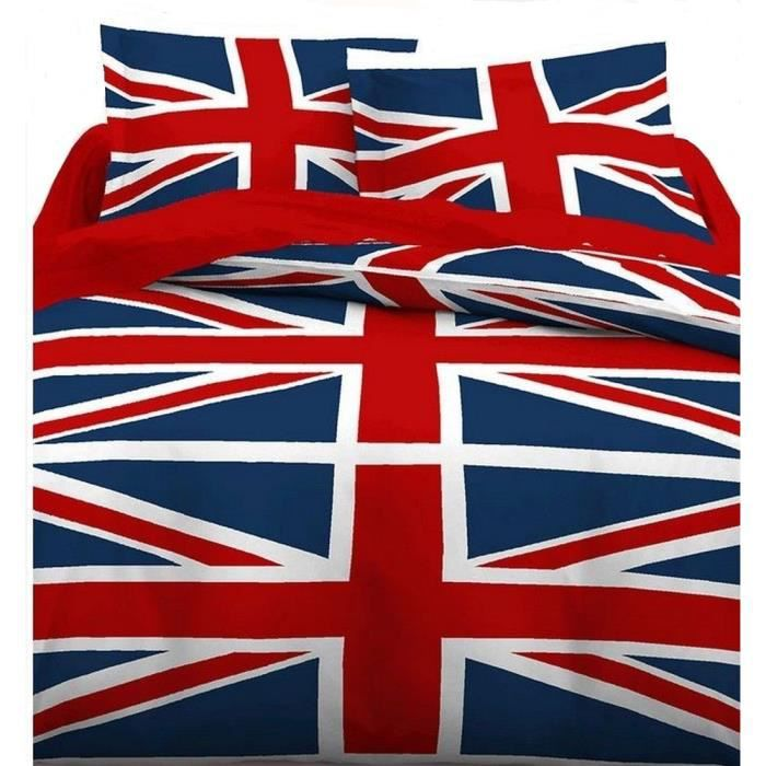 housse de couette et taies d 39 oreillers union jack 220 x 240cm achat vente parure de couette. Black Bedroom Furniture Sets. Home Design Ideas
