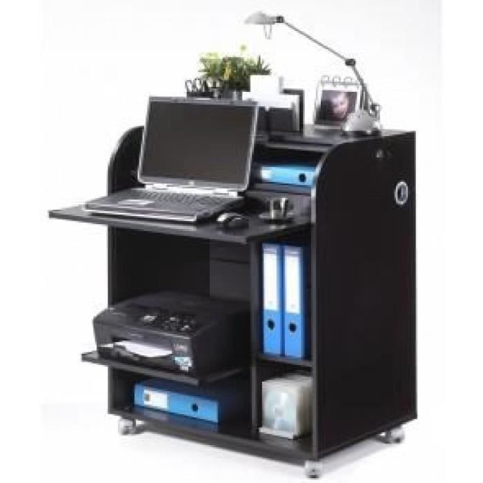 Meuble informatique roulettes 79 2 cm noir achat vente bureau meuble informatique noir - Achat materiel de bureau ...