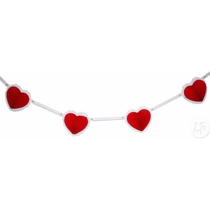 LOT de 2:guirlande saint valentin avec 9 coeurs festonnés. longueur ...
