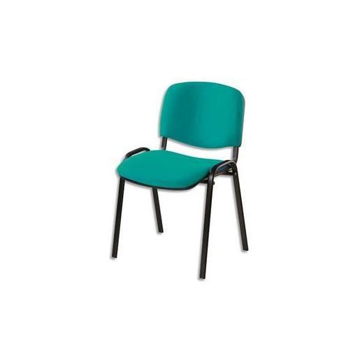 Chaise de conf rence 4 pieds tissu vert achat vente for Chaise 3 pieds