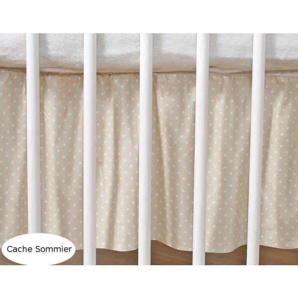 cache sommier pour lit 140x70 beige pois achat vente cache sommier cdiscount. Black Bedroom Furniture Sets. Home Design Ideas