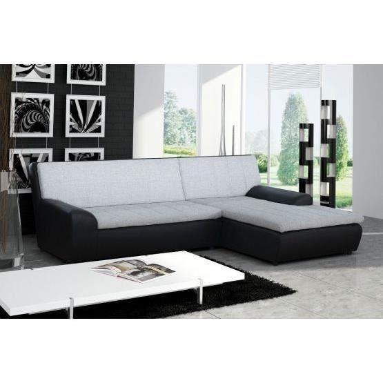 Canap d 39 angle gemini noir et gris droit achat vente canap sofa divan pu bois h tre for Canape angle droit tissu lille