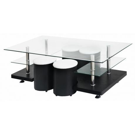 Table basse 4 poufs noir paula achat vente table basse table basse 4 - Table basse 6 poufs noir ...