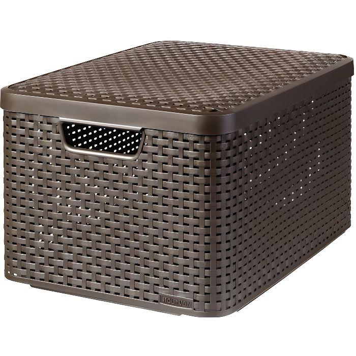 panier de rangement avec couvercle style l curver achat vente casier pour meuble plastique. Black Bedroom Furniture Sets. Home Design Ideas