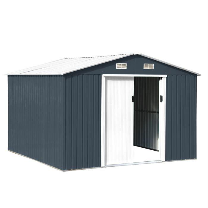 abri de jardin en m tal anthracite blanc 9m achat vente abri jardin chalet abri de. Black Bedroom Furniture Sets. Home Design Ideas