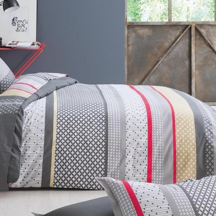 housse de couette 260x240 cm percale pur coton andrew anthracite achat vente housse de. Black Bedroom Furniture Sets. Home Design Ideas