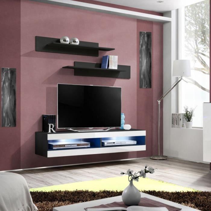 paris prix meuble tv mural design fly ii 160cm blanc noir achat vente meuble tv paris. Black Bedroom Furniture Sets. Home Design Ideas