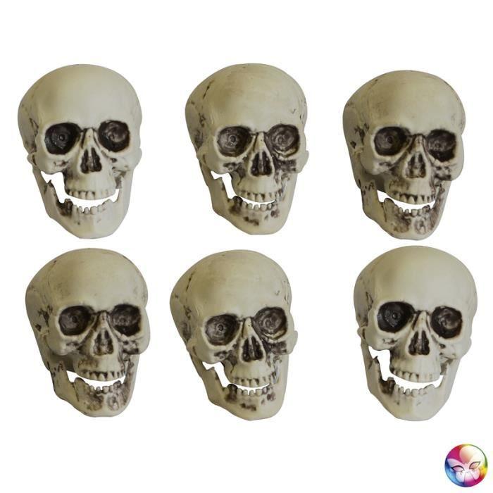 Deco halloween sachet 6 cranes tetes de mort achat - Deco tete de mort ...