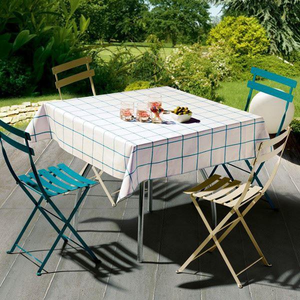 Nappe carr e coton enduit blanc turquoise patio achat - Nappe coton enduit table ...