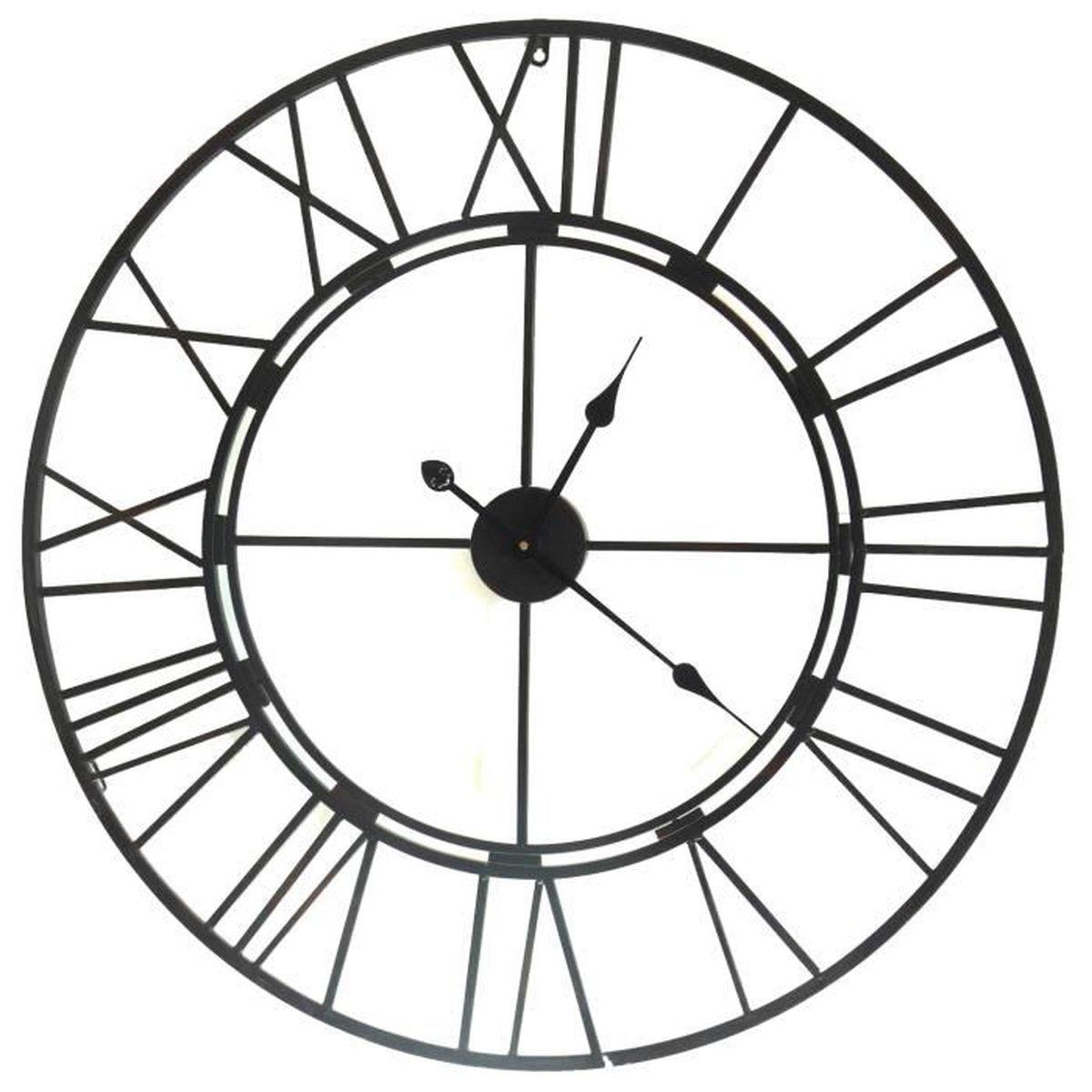 grande horloge en fer style loft pendule murale acier 105cm achat vente horloge cdiscount