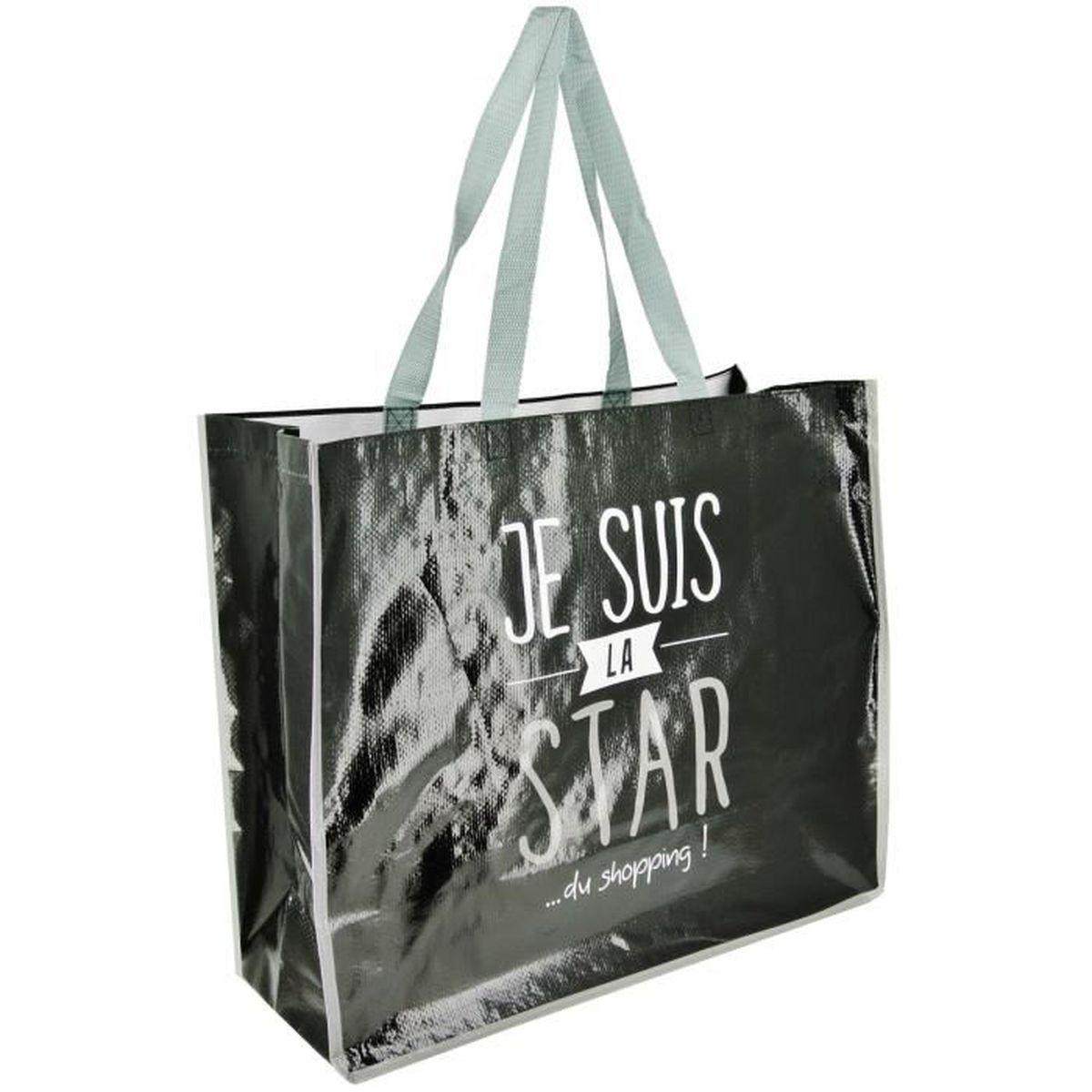 sac cabas pour courses shopping inscription fun je suis la star du shopping noir achat vente. Black Bedroom Furniture Sets. Home Design Ideas