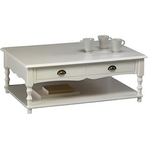 Table basse rectangulaire blanche achat vente table - Table basse baroque blanche ...