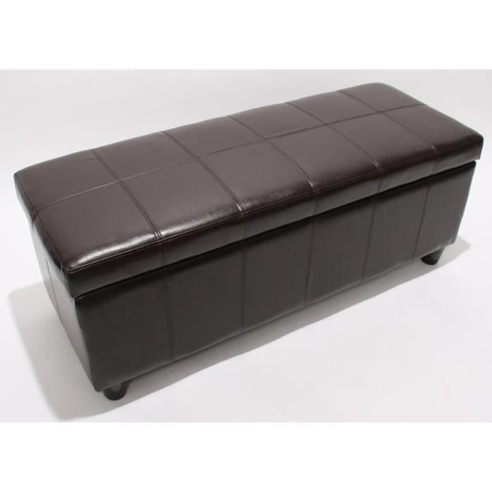 Banc banquette coffre de rangement kriens cuir 112x45x45cm marron achat v - Petit banc coffre de rangement ...