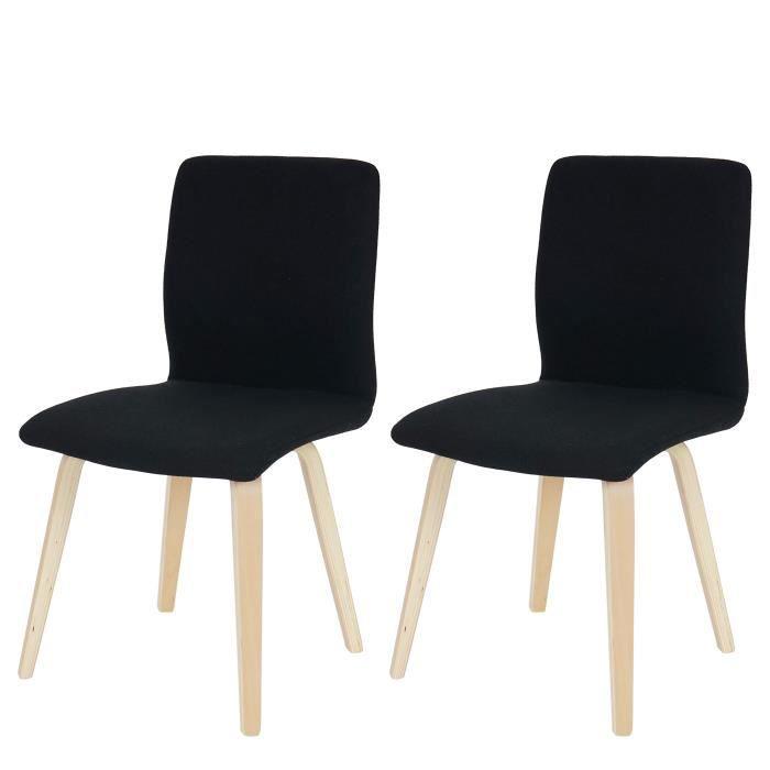 2 chaises de salle manger design en tissu noir pieds clairsles coins et les bords for Chaises de salle a manger design