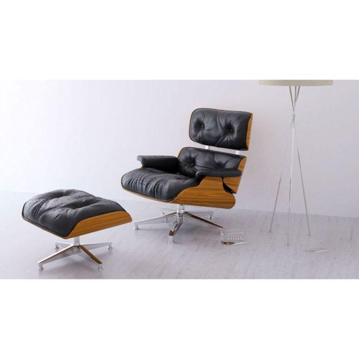 Fauteuil et ottoman noir inspir s charles eames achat vente fauteuil mati - Fauteuil design charles eames ...