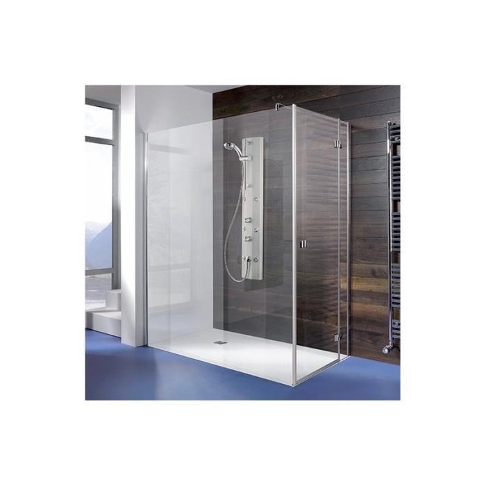 Espira paroi fixe avec porte pivotante verre satin 90 cm for Porte de douche avec paroi fixe