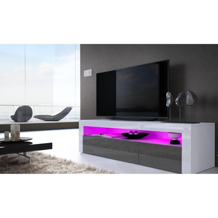 meuble tv blanc noir m tallique blanc 155 cm achat. Black Bedroom Furniture Sets. Home Design Ideas