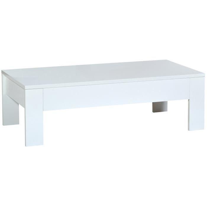 Table basse rectangulaire avec 1 tiroir coloris blanc - Table basse rectangulaire blanc laque ...