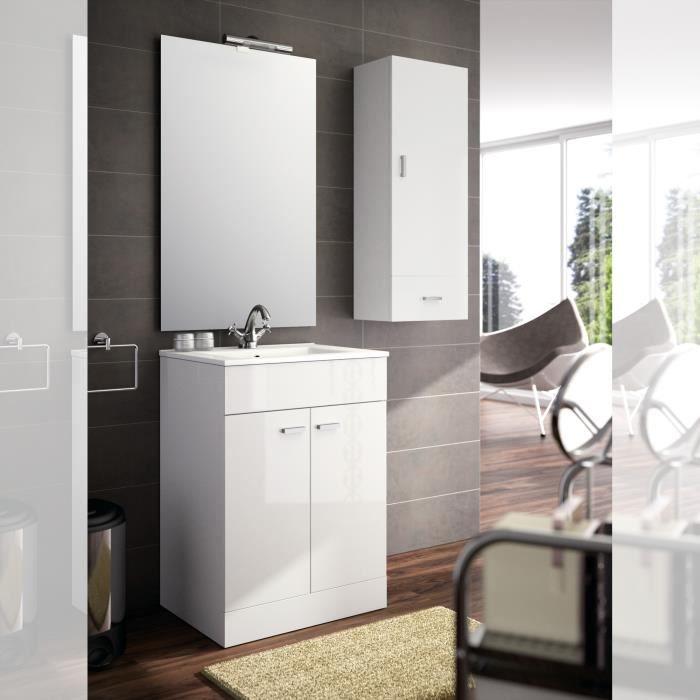 Meuble complet salle de bain motril 600 blanc b achat for Meuble salle de bain complet