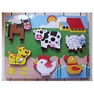 puzzle en bois animaux de la ferme bebe 1 an achat vente puzzle cdiscount. Black Bedroom Furniture Sets. Home Design Ideas
