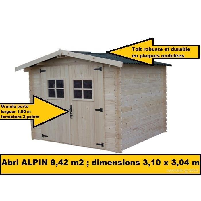 Abri de jardin bois 9 42m2 3 10x3 04 m achat vente for Abri de jardin 10m2 bois
