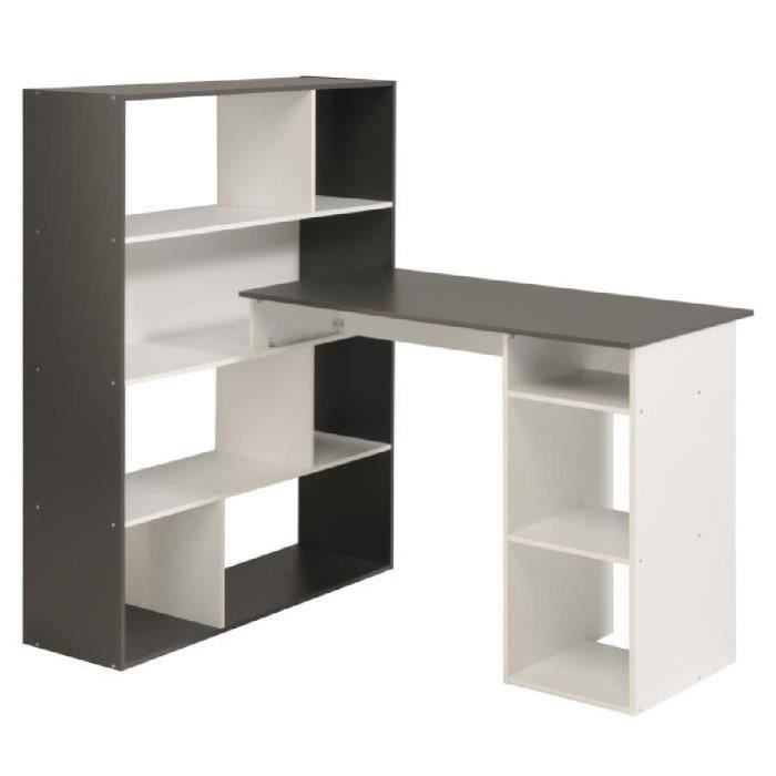stanley bureau d 39 angle 91 cm blanc et gris ombr achat vente bureau stanley bureau 91 cm. Black Bedroom Furniture Sets. Home Design Ideas