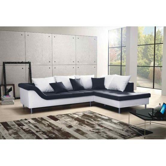 canap design elvis noir et blanc droit achat vente canap sofa divan cuir pu bois. Black Bedroom Furniture Sets. Home Design Ideas