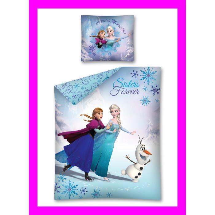 reine des neiges housse de couette et taie disney achat vente parure de drap cdiscount. Black Bedroom Furniture Sets. Home Design Ideas