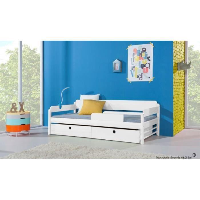 lit enfant 90x200 funky blanc sans matelas blanc achat vente structure de lit cdiscount. Black Bedroom Furniture Sets. Home Design Ideas