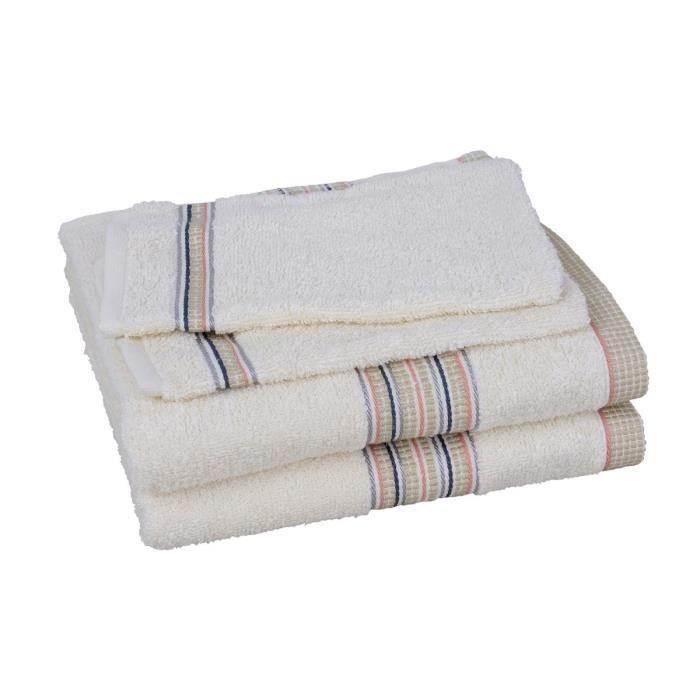 lot de 2 serviettes 2 gants falcon beige achat vente. Black Bedroom Furniture Sets. Home Design Ideas