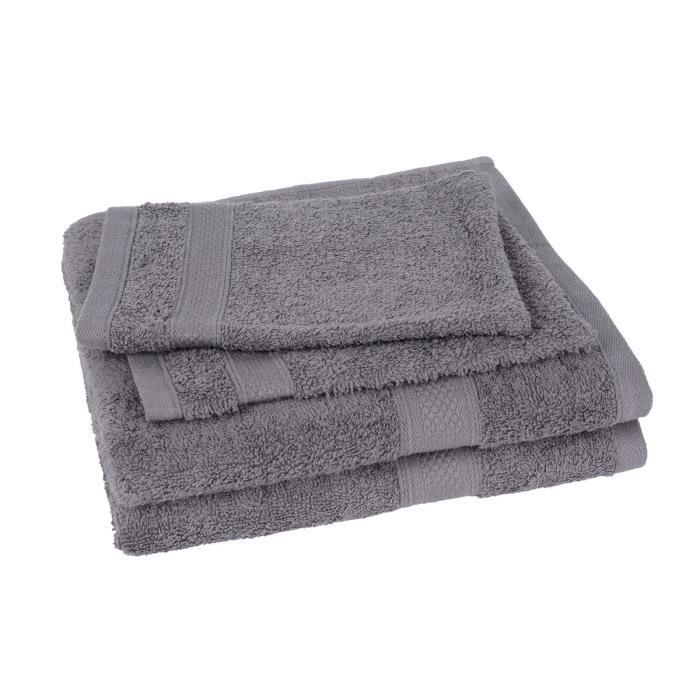 lot de 2 serviettes 2 gants elegance gris achat. Black Bedroom Furniture Sets. Home Design Ideas
